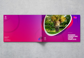 Landscape Cover Layout with Purple Gradient Elements