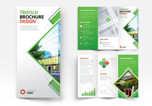 Trifold Brochure Layout with Geometric Elements