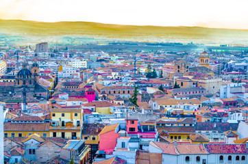 Cityscape of Granada, Spain, colorful illustration