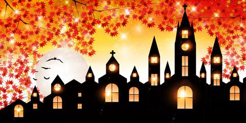 ハロウィン 秋 城 背景
