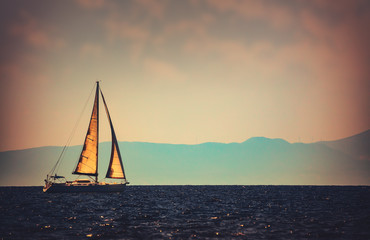 Beautiful sailboat in the distance