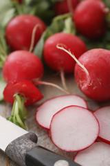 preparing fresh red european radishes