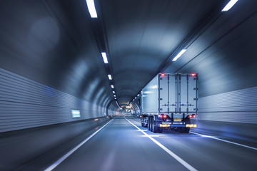 Truck passing through tunnels for safe and fast transport.