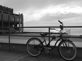 Cycline at the New Jersey Shore in Black & White