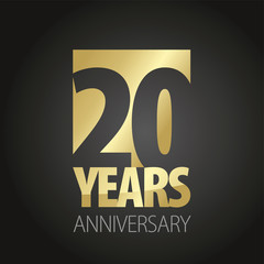 20 Years Anniversary gold black logo icon banner