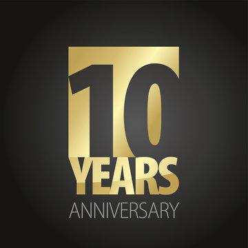 10 Years Anniversary gold black logo icon banner