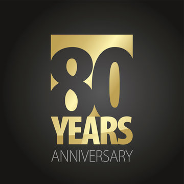 80 Years Anniversary gold black logo icon banner