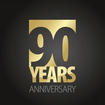 90 Years Anniversary gold black logo icon banner