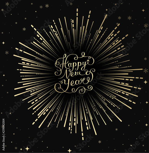 happy new year card with golden firework