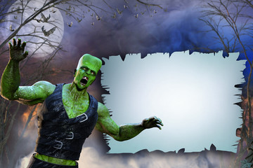 3D Illustration of a Frankenstein with a banner  on Halloween background