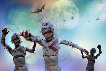 3D Illustration of a mummy on Halloween background