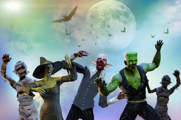 3D Illustration of a monsters on Halloween background witch, mummy, vampire