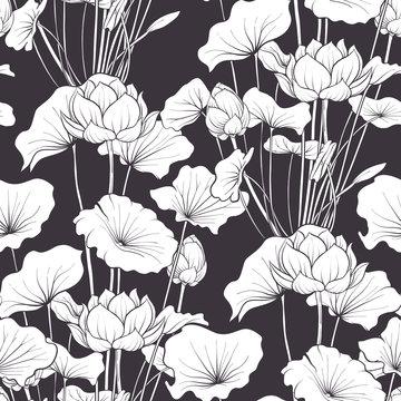 Seamless pattern, background with lotus flower. Botanical illust