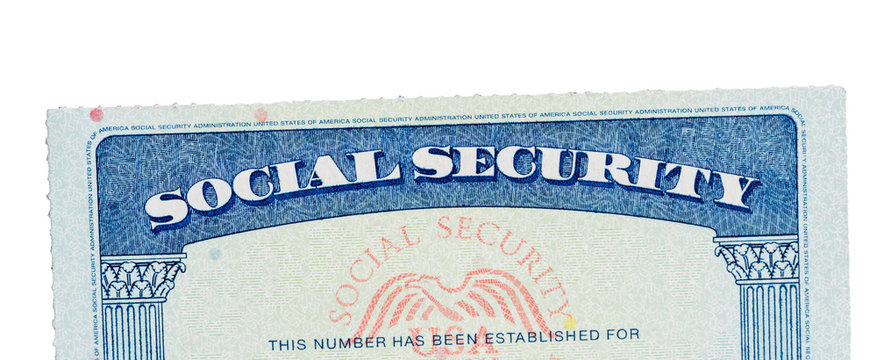 USA Social Security Card isolated against white