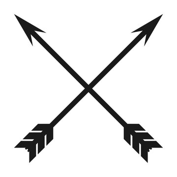 Minimalist, flat, crossed arrows icon. Isolated on white