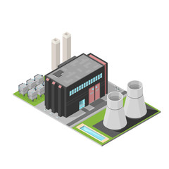 Isometric Nuclear Power Station Building Industrial fuel generation.