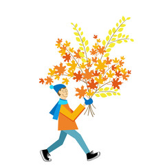 A man carrying a autumn leaves bouquet.