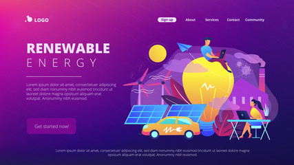 People around huge lamp analyzing power data. Renewable energy landing page. Power saving, smart grid energy, system modelling, IoT and smart city. Vector illustration on ultraviolet background.