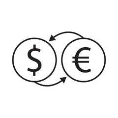dollar and euro exchange vector icon desing illustration