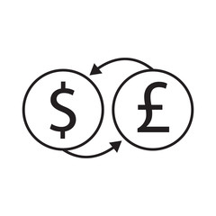 dollar and pound exchange vector icon desing illustration