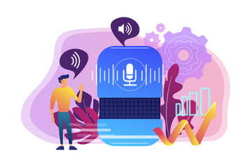 Voice controlled smart speaker and user talking. Smart home office main controlling hub, IoT technology and voice controlled digital devices concept, violet palette. Vector isolated illustration.