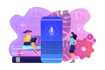 Two female users and smart home assistant. Smart home office main controlling hub. IoT technology, voice controlled assistant monitoring house concept, violet palette. Vector isolated illustration.