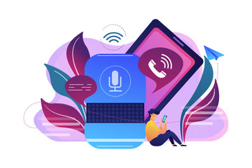User making hands-free phone calls with smart speaker. Smart home assistant, IoT technology and voice controlled digital devices concept, violet palette. Vector isolated illustration.