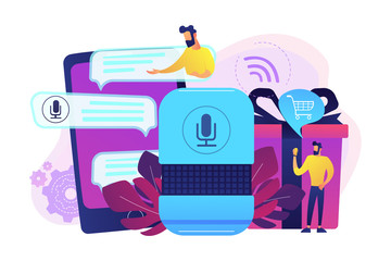 Customer shopping online, ordering goods and delivery with smart speaker. Voice activated digital assistants, voice controlled online shopping concept, violet palette. Vector isolated illustration.