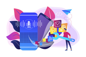 Smart speaker with apps icons and developer with wrench. Smart assistant applications, voice application platform, voice assistant development concept, violet palette. Vector isolated illustration.