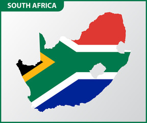 The detailed map of South Africa with National Flag