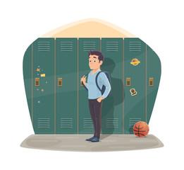 Pupil port locker with school bag