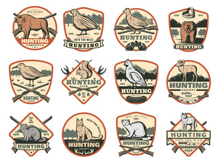 Hunting club, wild animals and ammo icons