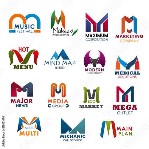 Letter M Icons And Symbols For Business Stock Image And Royalty