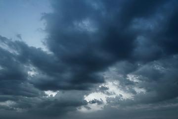 Dark thunder clouds during rain storm