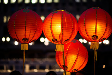 Red and orange paper lanterns. Chinese valentine's day lantern festival.