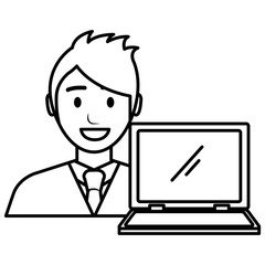 businessman with laptop avatar character vector illustration