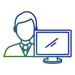 businessman with computer avatar vector illustration design