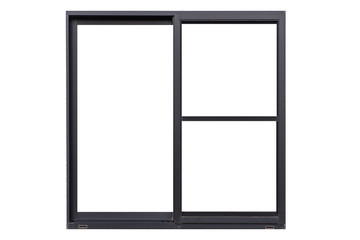 Black metal window frame isolated on white background