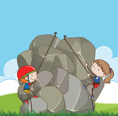 boy and girl climbing rock