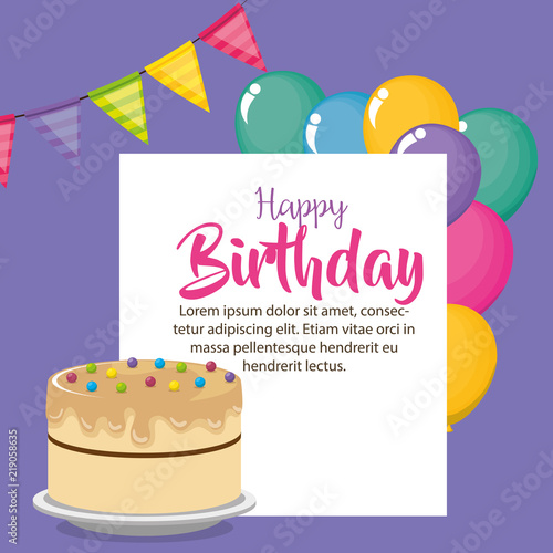happy birthday card with cake and balloons helium stock image and