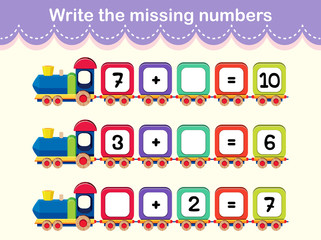 Write the missing numbers train poster