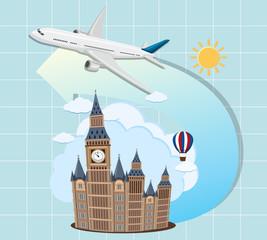 London landmarks with airplane