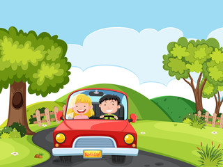 A couple driving a car