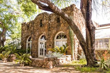Vintage stone building at Boyce Thompson Arboretum in Arizona