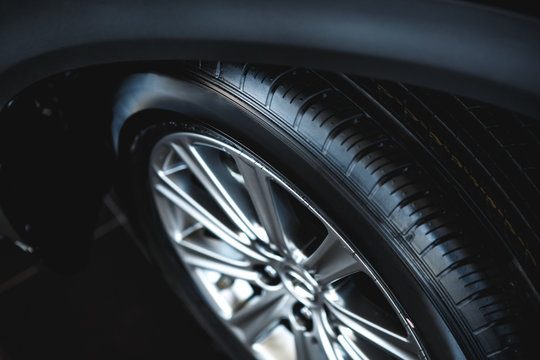 Car wheel on a car close-up. wheel tuning disk