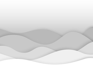 abstract circle blank paper white and gray tone vector background, wave overlapping with shadow modern concept, space for text or message web and book design