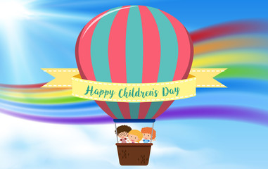 Happy childrens day hot air balloon concept