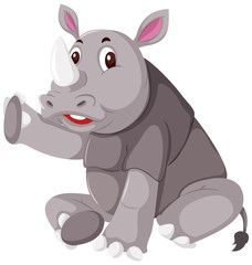 Cute grey rhino white background