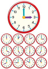 A set of clock and time