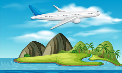 commercial aircraft above island